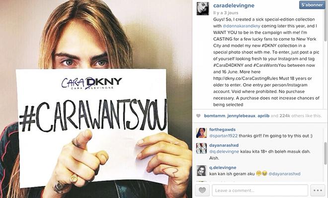 #CaraWantsYou : Casting sur Instagram organisé par Cara Delevingne pour sa collection capsule avec DKNY